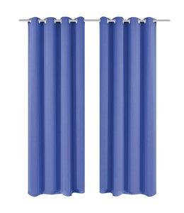 Gordijnen met metalen ringen verduisterend 135x245 blauw 2 st