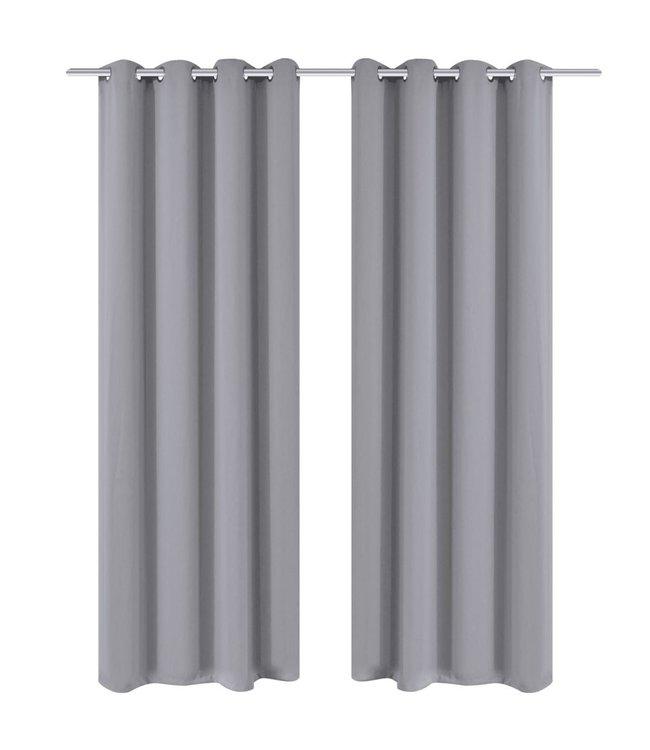 Blackout Gordijnen met metalen ringen 135 x 245 cm 2 stuks (grijs)