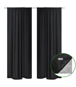 Gordijnen verduisterend 2 st dubbellaags 140x245 cm zwart