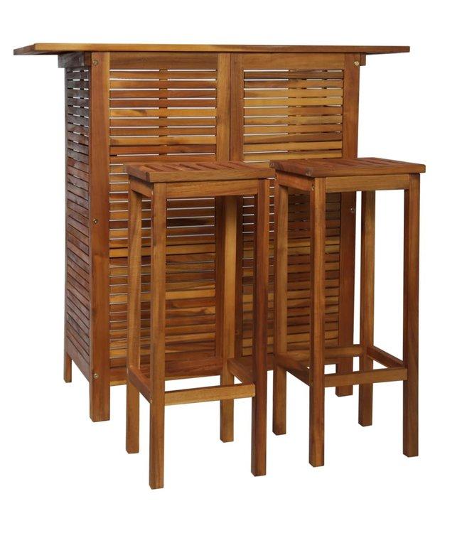 3-delige Bartafel- en stoelenset massief acaciahout