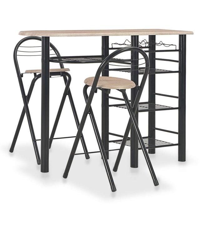 3-delige Barset met schappen hout en staal