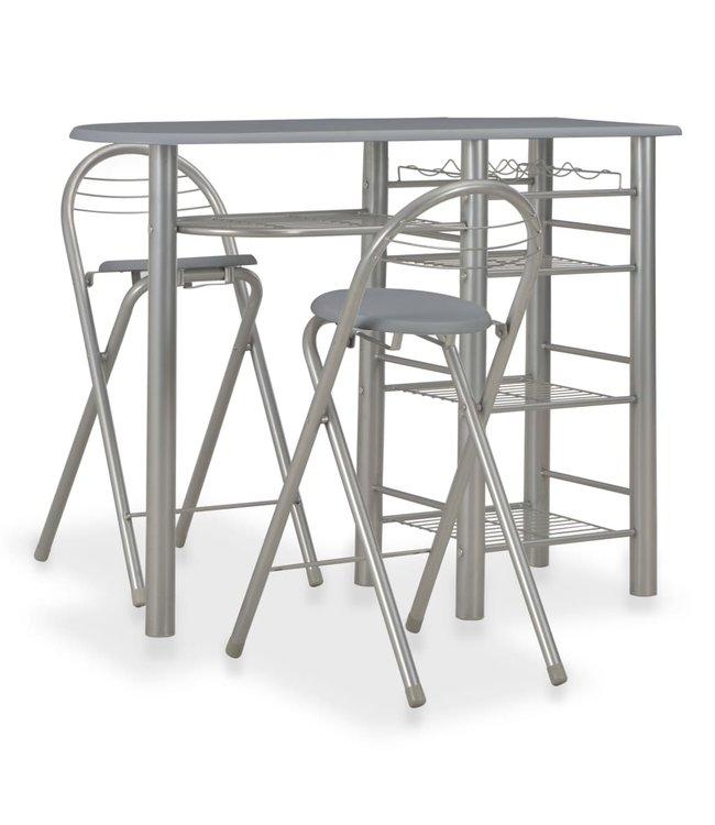 3-delige Barset met schappen hout en staal grijs