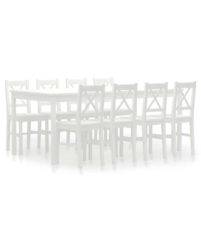 9-delige Eethoek grenenhout wit