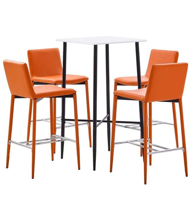 5-delige Barset kunstleer oranje