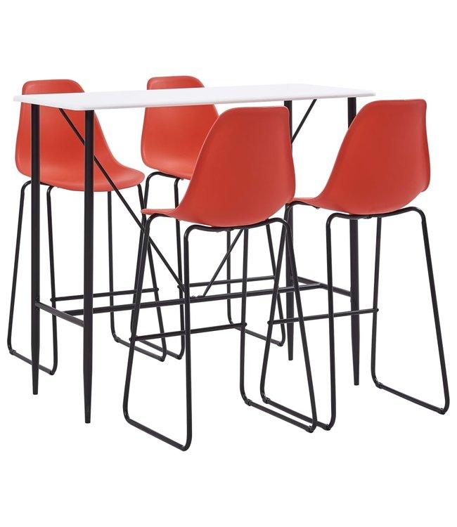 5-delige Barset kunststof rood