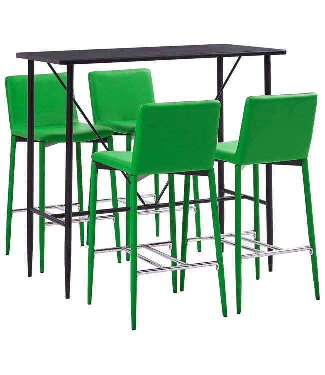 5-delige Barset kunstleer groen