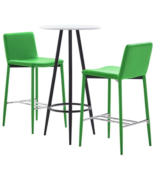 3-delige Barset kunstleer groen