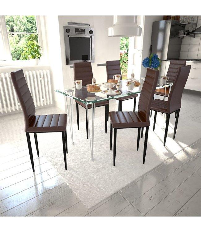 Eetkamerset 6 bruine slim line stoelen en 1 glazen tafel