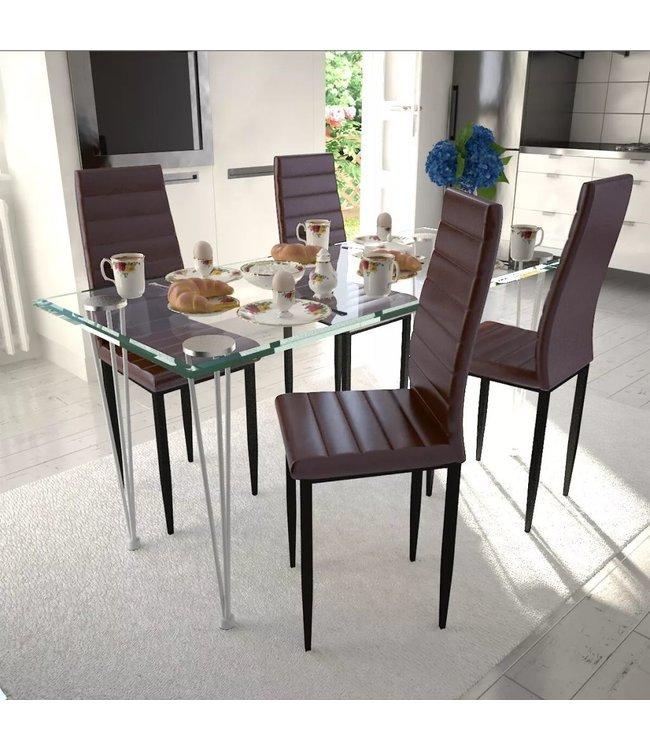 Eetkamerset 4 bruine slim line stoelen en 1 glazen tafel