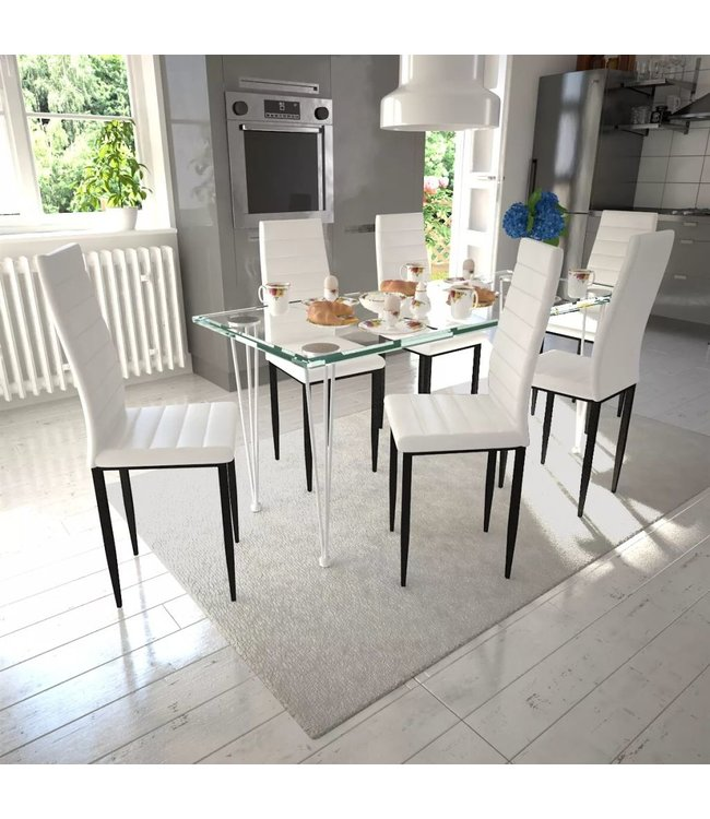 Eetkamerset 6 witte slim line stoelen en 1 glazen tafel