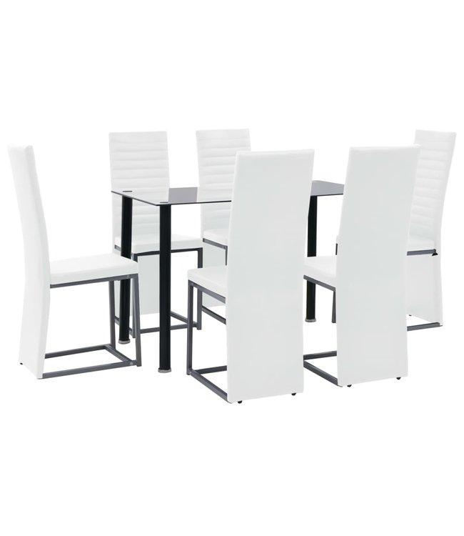 Eethoek staal en gehard glas zwart en wit 7-delig