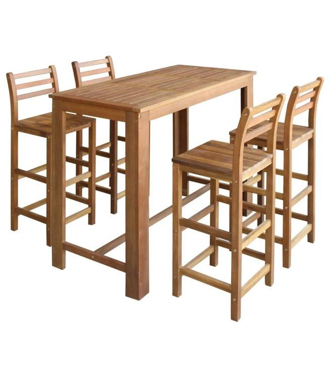 Bartafel- en stoelenset massief acaciahout 5-delig
