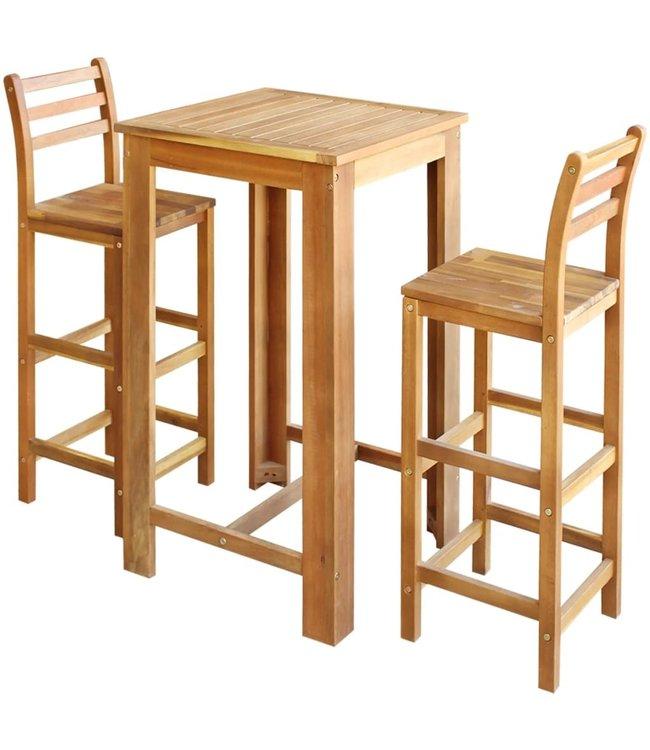 Bartafel- en stoelenset massief acaciahout 3-delig