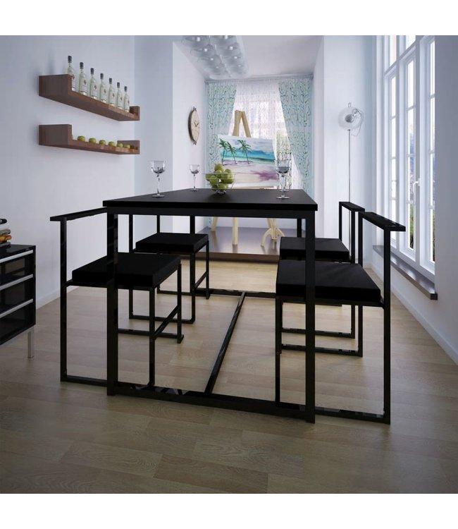 Eetkamer set 5-delig zwart