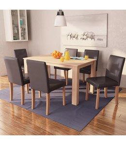 Eettafel met stoelen kunstleer en eikenhout bruin 7 st