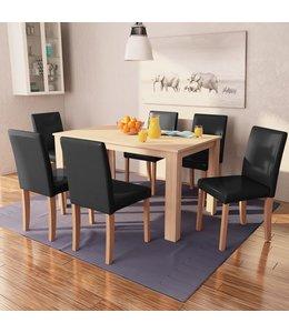 Eettafel met stoelen kunstleer en eikenhout zwart 7 st