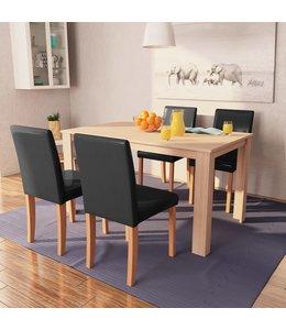 Eettafel met stoelen kunstleer en eiken zwart 5 st