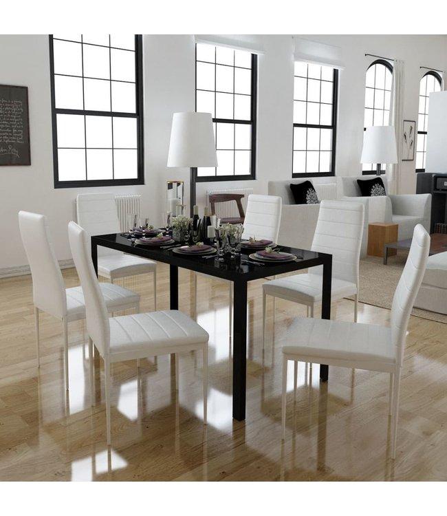 Eetkamerset 7-delig wit en zwart