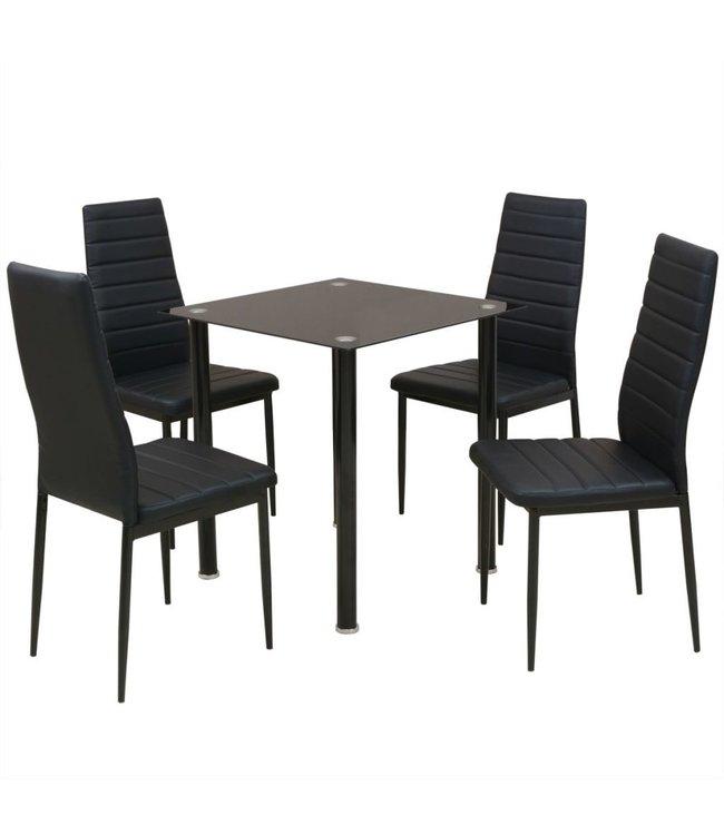 Eetkamerset tafel en stoel zwart 5-delig