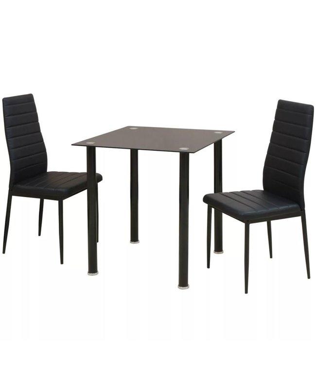 Eetkamerset tafel en stoel zwart 3-delig