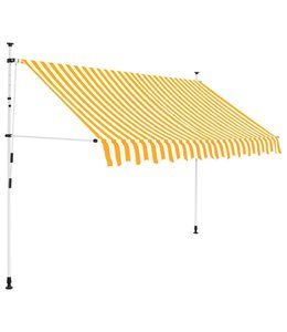 Luifel handmatig uitschuifbaar 300 cm geel en witte strepen