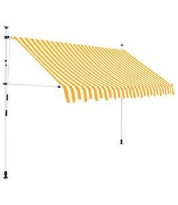 Luifel handmatig uitschuifbaar 250 cm geel en witte strepen