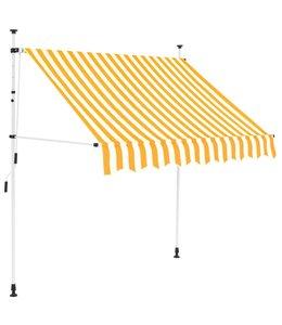 Luifel handmatig uitschuifbaar 200 cm geel en witte strepen