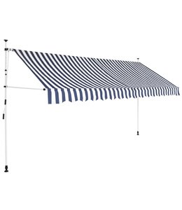 Luifel handmatig uitschuifbaar 350 cm blauw en witte strepen