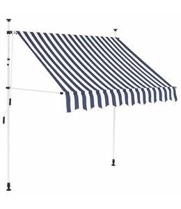 Luifel handmatig uitschuifbaar 150 cm blauw en witte strepen
