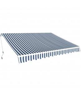 Luifel handmatig uitschuifbaar 350 cm blauw/wit