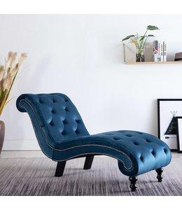 Chaise longue fluweel blauw