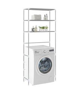 Opbergrek voor boven wasmachine 3-laags 69x28x169 cm zilverkleurig