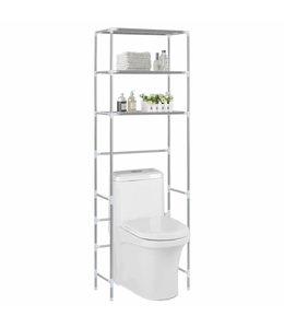 Opbergrek voor boven toilet 3-laags 53x28x169 cm zilverkleurig
