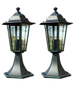 Tuinlampen 2 st aluminium donkergroen/zwart