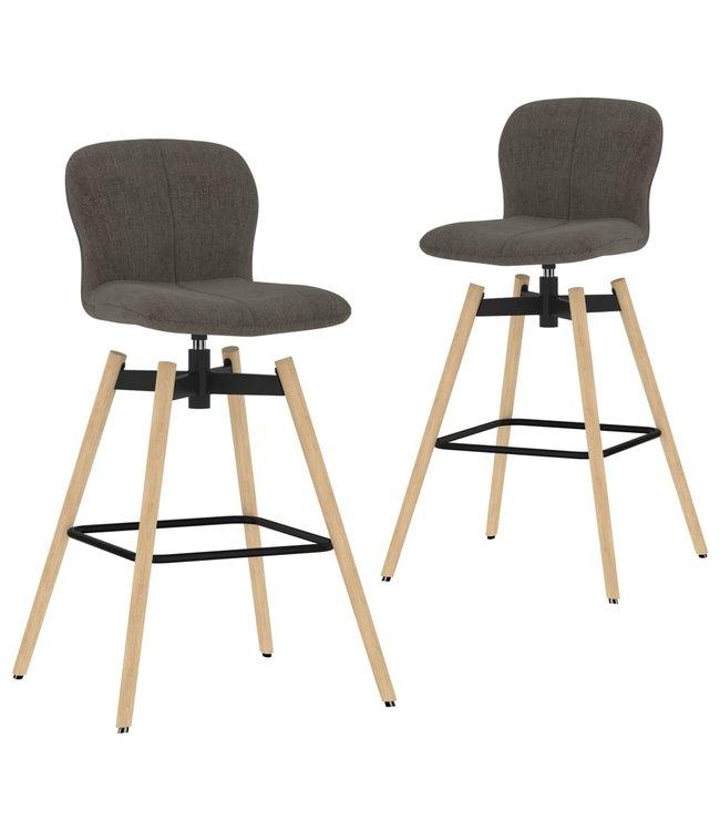 Barstoelen draaibaar 2 st stof taupe