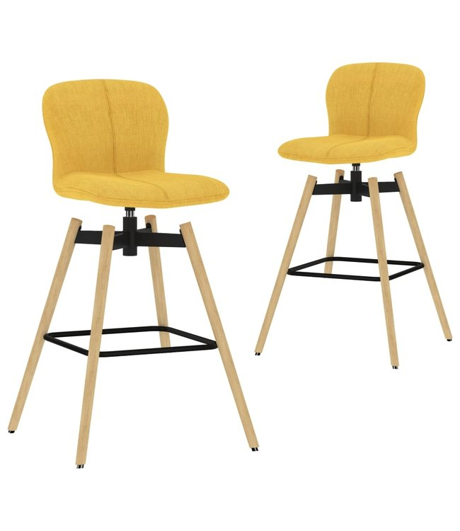 Barstoelen draaibaar 2 st stof geel