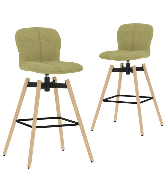 Barstoelen draaibaar 2 st stof groen