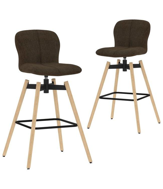 Barstoelen draaibaar 2 st stof bruin