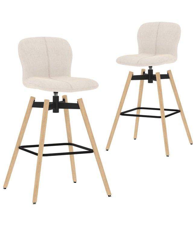 Barstoelen draaibaar 2 st stof crème