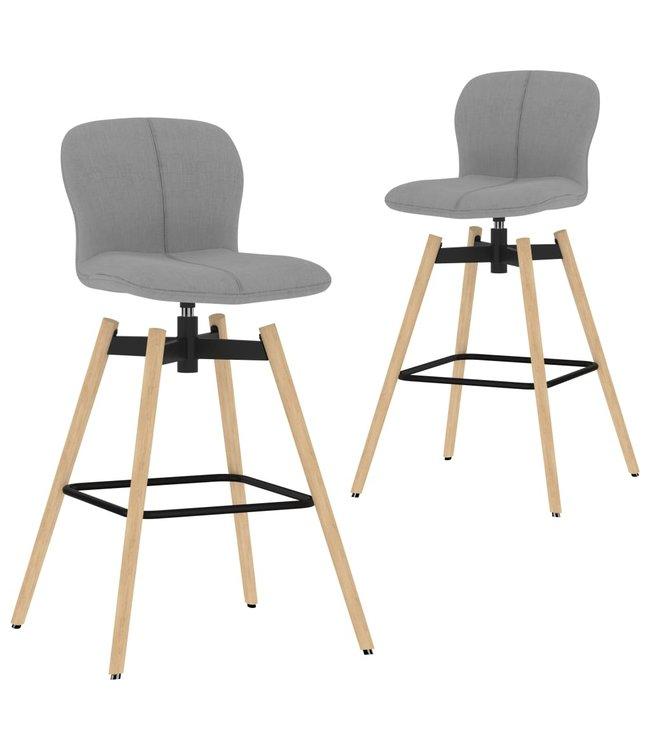 Barstoelen draaibaar 2 st stof lichtgrijs