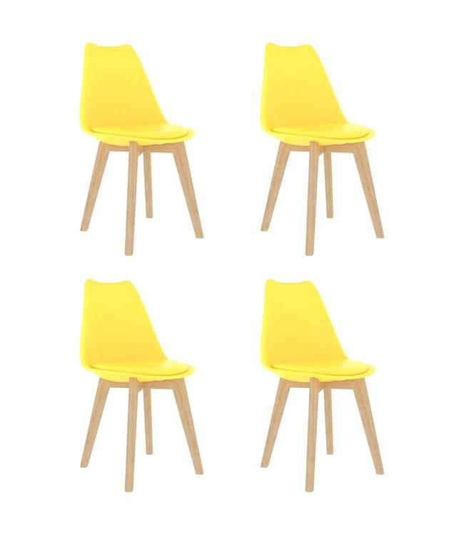Eetkamerstoelen 4 st kunststof geel