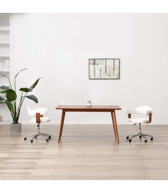 Eetkamerstoel draaibaar gebogen hout en kunstleer wit
