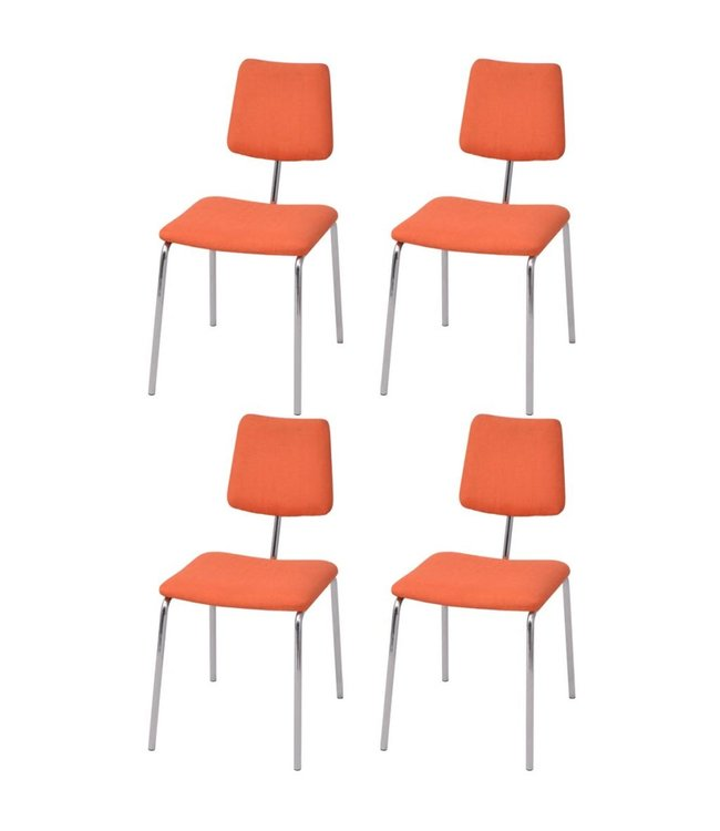 Eetkamerstoel oranje stof met chromen poot (set van 4)