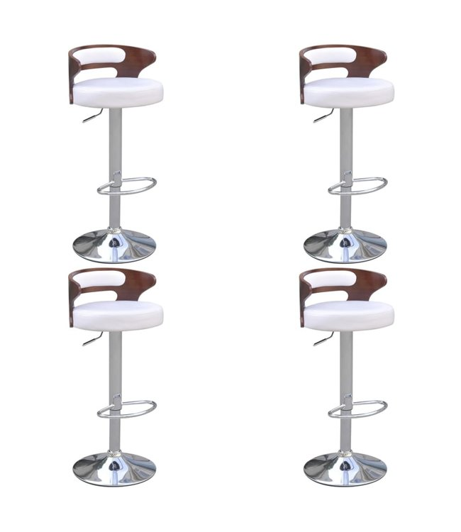 Barkrukken 4 st met gebogen houten frame kunstleer wit