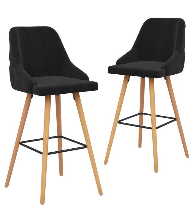 Barstoelen 2 st fluweel zwart