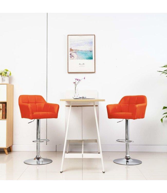Barstoelen 2 st met armleuning kunstleer oranje