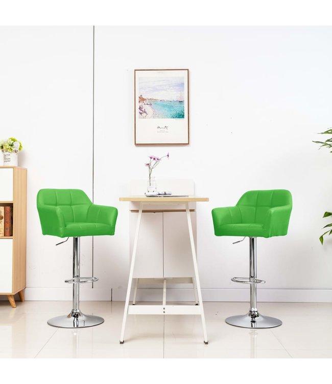 Barstoel met armleuning kunstleer groen