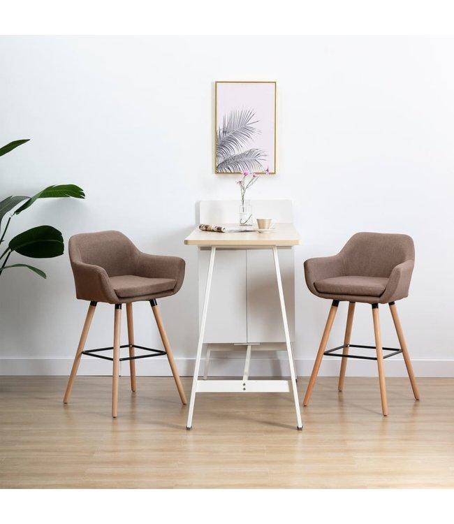 Barstoel met armleuning stof taupe