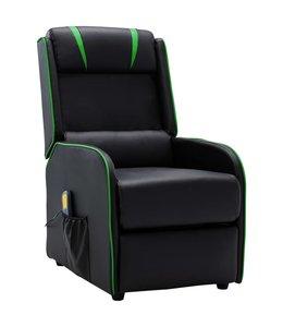 Massagestoel verstelbaar kunstleer zwart en groen