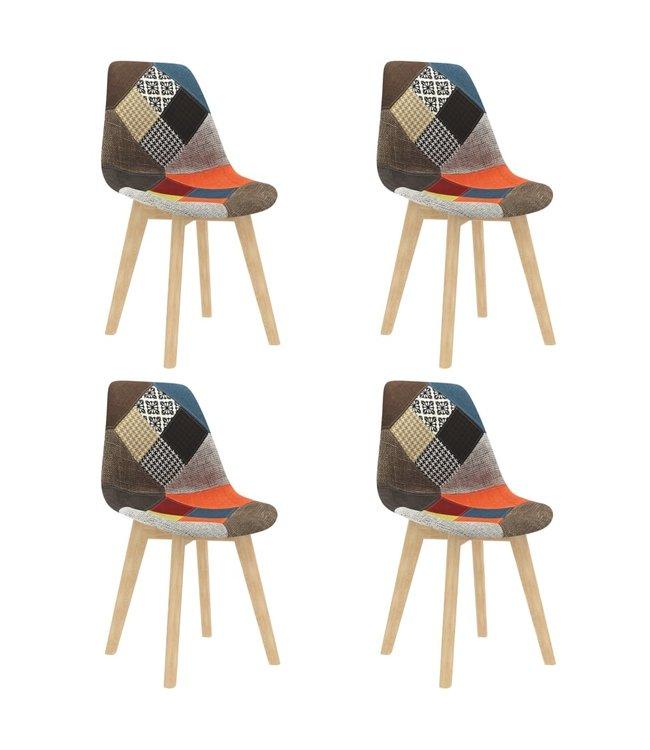 Eetkamerstoelen 4 st met patchwork ontwerp stof meerkleurig